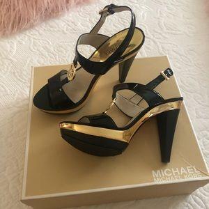 Black/Gold MK Heel